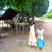 Girls at their family fruit stall in Mwaembe